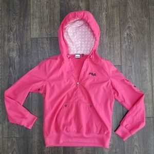 Fila Hot Pink Zip Up Hooded Jacket - small